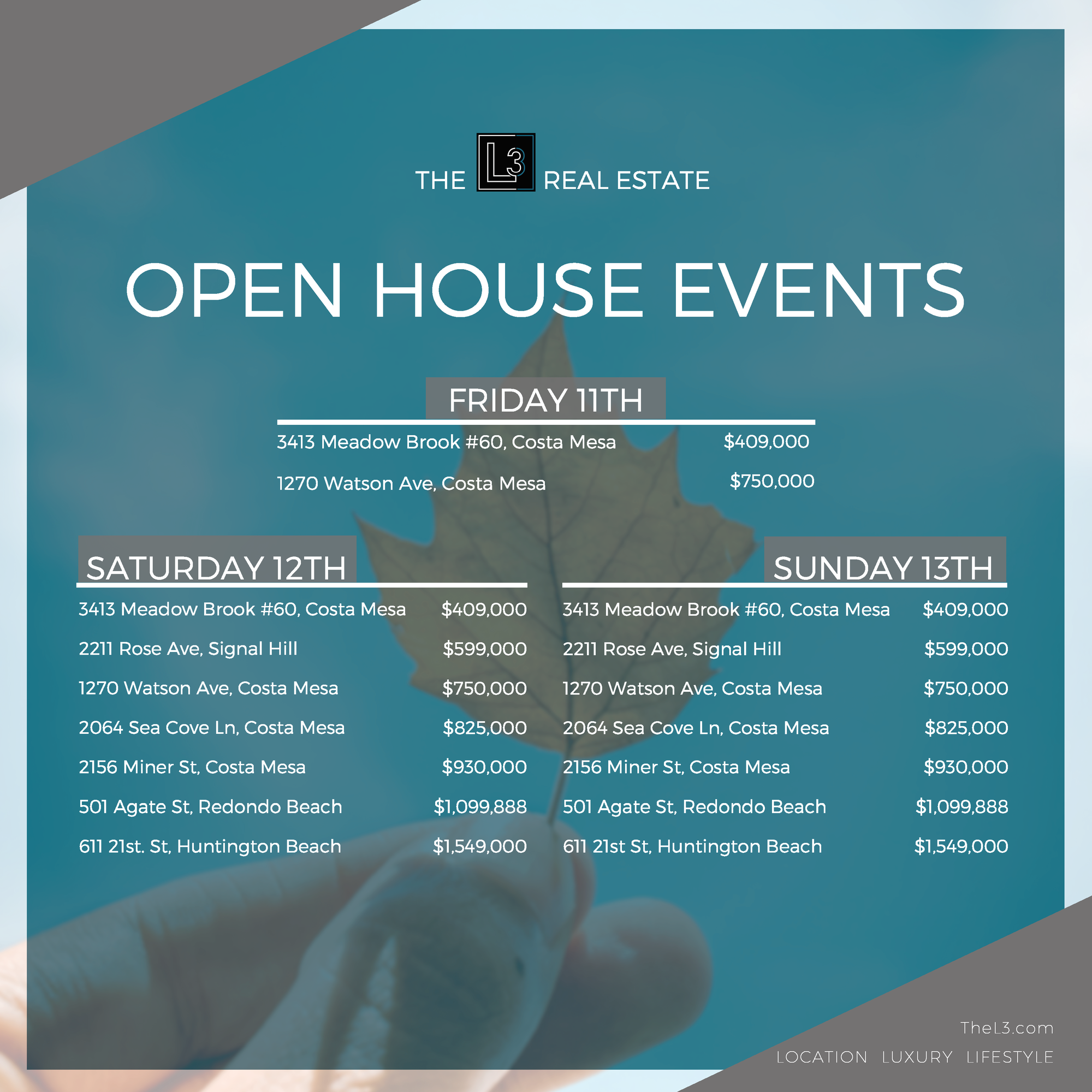 The L3 Real Estate Open Houses