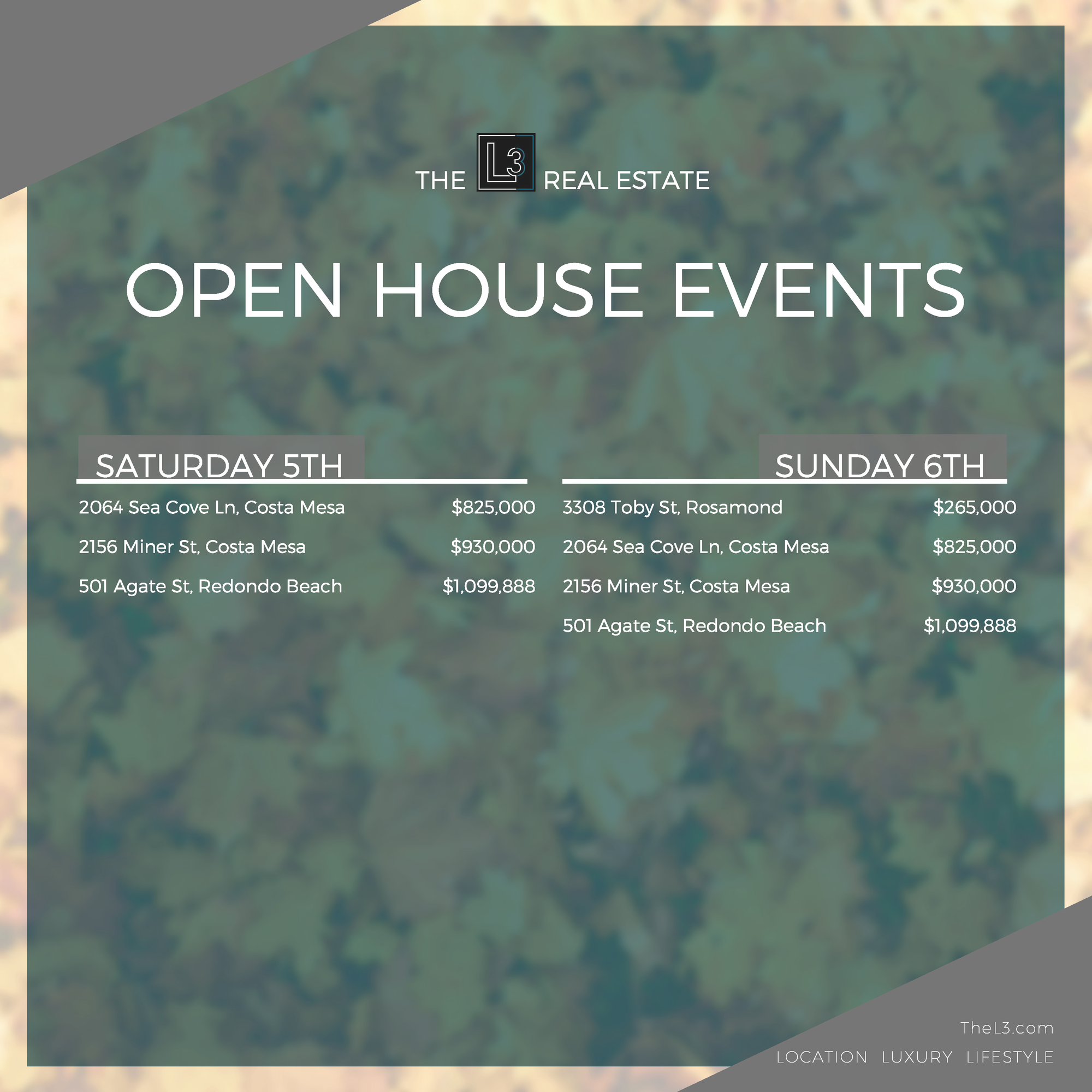 The L3 Open Houses This Weekend