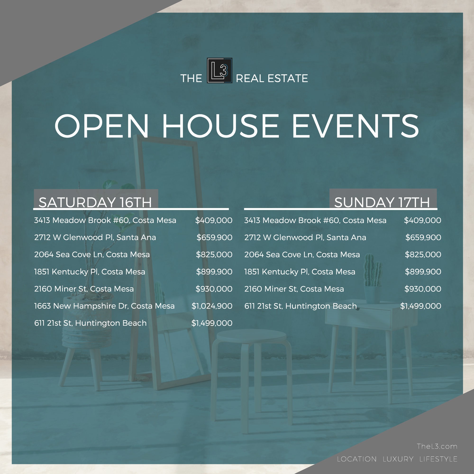 The L3 Real Estate Open House Events