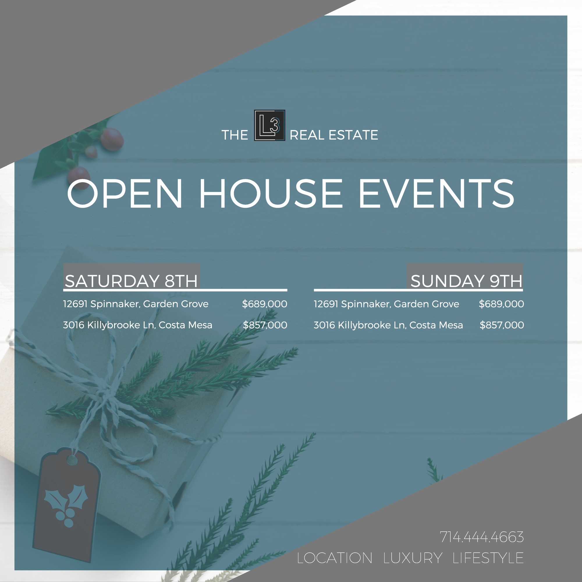 Open House Events 12/15-12/16